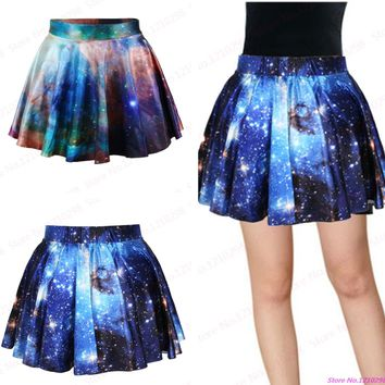 New Style Blue Galaxy Mini Skirt 3D Print Red Starry Pleated Mini Skirt Comfortable Running Gym Skirts
