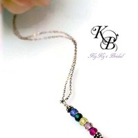 Birthstone Necklace, Sterling Silver Mothers Necklace, Mothers Jewelry, Mothers Day Gift, Birthstone Jewelry, Gift for Mom | KyKy's Bridal, Handmade Bridal Jewelry, Wedding Jewelry