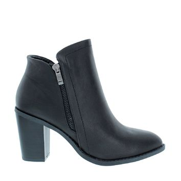 Side Zipper Chunky Heel Bootie (BLACK)