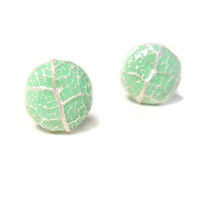 Pastel Mint & Pearl Stud Leaf Vein Earrings by LaurelAndLime
