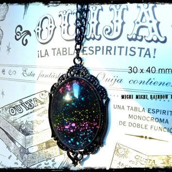 Rainbow Nebula Gothic Necklace - Black gift box included