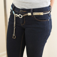 Christian Dior Belt Blue Swarovski Crystal Silver Chain Sz 90