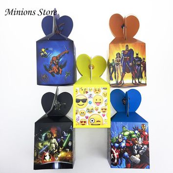 6pc/lot Star Wars Emoji Avengers cartoon Candy Box Birthday Party Decor Baby Shower Kid Favors Paper Spiderman Gift Box Supplies
