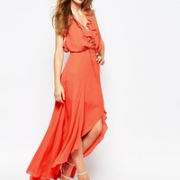 Fame and Partners Farrah Maxi Dress With Lace Up Frill Neck And Open Back at asos.com