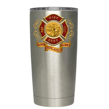 Red Gold Fire Department Badge on Stainless 20 oz Tumbler