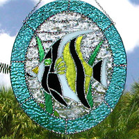 Suncatcher - Moorish Idol Tropical Fish Stained Glass Sun Catcher - Tropical Design