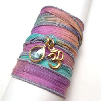 Hand Dyed Silk Wrap Bracelet with Gold Om by charmeddesign1012