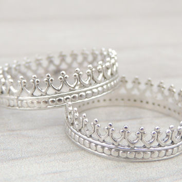 Two Princess Crown Sterling Silver Rings. Gift for your best friend. Friendship rings birthday christmas. made to order