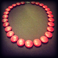 Vibrant Deep Red 22 Inch Howlite Beaded Necklace