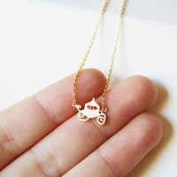 Tiny Chariot Charm Necklace, Tiny Charm Necklace, GoldPlated Charm Necklace, GoldPlated Necklace, Hipster, Instagram, Holiday Gifts