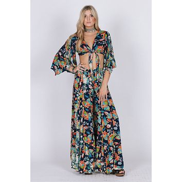 Tropical Print Tie Top and Flowy Pants