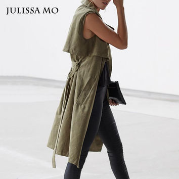 Julissa Mo New Autumn Fashion Casual women's Trench Coat Military Army Green Vest Sleeveless Long Outwear Cool Waistcoat