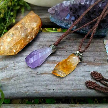 Raw Amethyst Necklace | Crushed Pyrite Copper Electroformed | Organic Hemp Jewelry | Gypsy Necklace | Boho Layering Necklace