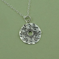 Mandala Necklace - sterling silver mandala jewelry - women's necklace - aztec jewelry - gift