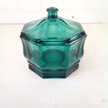 Vintage Aqua Green Glass Candy Dish w/Lid