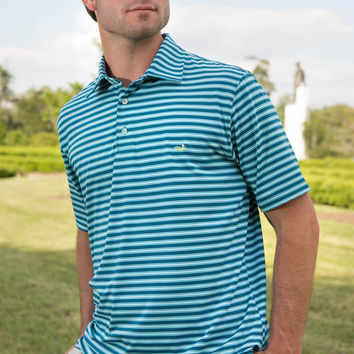 The Bermuda Performance Polo - Hamilton Stripe - Collegiate - University of North Carolina Wilmington