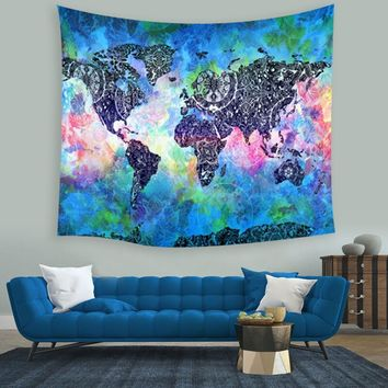 Hot Colorful World Map Indian Mandala Wall Hanging Tapestry Throw Blanket Mat Home Living Room Dorm Decoration Art Wall Mural