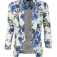 LE3NO Womens Textured 3/4 Sleeve Floral Print Draped Blazer Jacket
