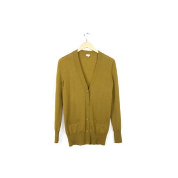 J.Crew Merino wool cardigan sweater / gold golden mustard yellow / 100% wool  / light weight cardigan / size small - medium