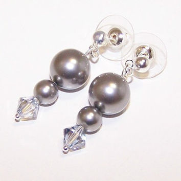 Grey, Pearl, Earrings, Swarovski, Crystal, Blue, MADE TO ORDER, Winter, Ice