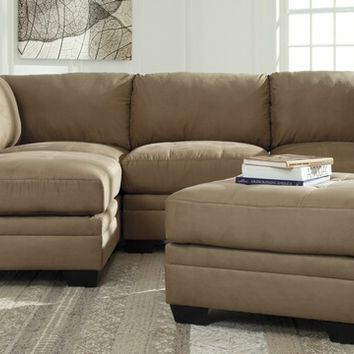 Ashley Furniture 65105-51-46-08 5 pc lago collection mocha colored fabric upholstered modular sectional sofa set
