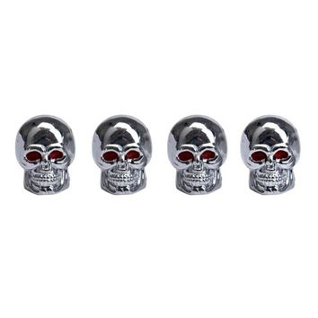 Red Eyes Skull Tyre Tire Air Valve Stem Dust Caps For Car Bike Truck Fixed Gear Mountain Touring Bikes Cycling Accessories 4A