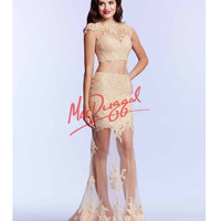 Champagne Sheer Illusion Two Piece Dress
