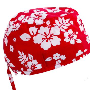 Tropical Hibiscus Flowers Red & White Surgical Scrub Cap Hat