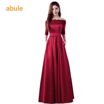 abule 2017 Long Evening Dress Wine Red Lace Embroidery Luxury Satin Half Sleeved Elegant Banquet Prom Dress Robe De Soiree