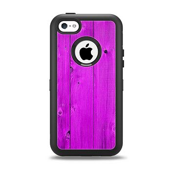 The Purple Highlighted Wooden Planks Apple iPhone 5c Otterbox Defender Case Skin Set