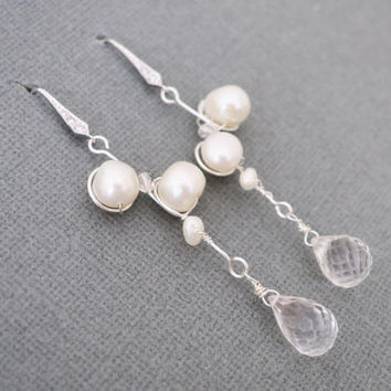 Bridal Drop Earrings Freshwater Pearl Crystal Wedding Earrings Chandelier Sterling Silver Delicate Wedding Jewelry for Brides Bridesmaids
