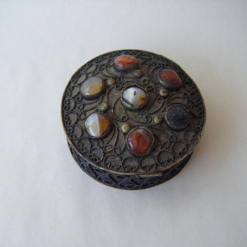 Vintage Ornate Silver Round Box Agate Multi Colored Stone Boho Bohemian Home Decor India Jewelry Keepsake Trinket Gypsy Ethnic