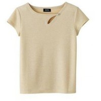 Nola Boutique - APC Blondie Tee shirt in Italian Jacquard jersey in gold.  Wide neckline and diagonal keyhole below neckline with button and loop closure. Very short sleeves. Mother-of-pearl button.