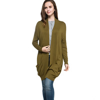 2016 Spring Style Women Solid Color Long Style Plus Size Casual Knitted Cardigan Sweater of Oversize Scarf Collar Drop shoulder