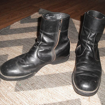 Vintage CushNCrepe Leather Boots Men's Size 10 1/2 Black Grunge Indie Biker Ankle