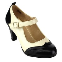Chase & Chloe CE36 Women's Round Toe Two Tone Mary Jane Pumps