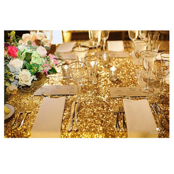Hot 48inx72in Gold Sequin Tablecloth Rectangle Style For Wedding c114c6a713e5