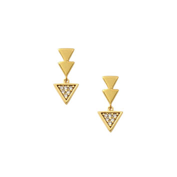 Pave Triangle Drop Earrings