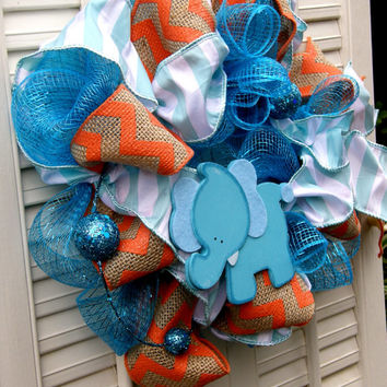 Elephant Nursery Elephant Decor Orange Turquoise Baby Decor Aqua Nursery Elephant Wreath Boy Nursery Decor Orange Chevron Welcome Baby Decor