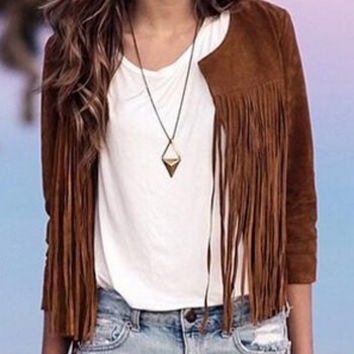 Coffee Colored Fringed Jacket