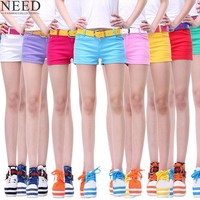 Summer  Denim Shorts For Women Cotton Candy Color Short Jeans For Women Mid Waist Black White Sexy Shorts Plus Size