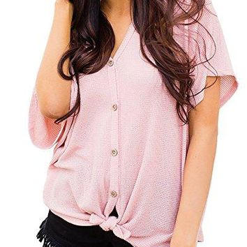 Nuker Womens Loose Blouse Short Sleeve V Neck Button Down T Shirts Tie Front Knot Casual Tops