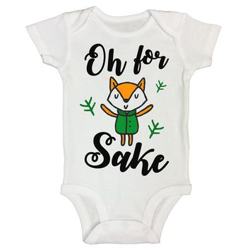 "Cute Animal Themed Baby Bodysuit ""Oh For Fox Sake"" RB Clothing Co"