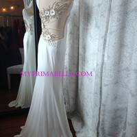 Jovani 90639 In Stock White SZ 0 Sheer Jeweled Back Jersey Prom Dress Evening Gown