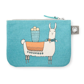 Llamarama Large Zipper Pouch | Colorful Cotton Change Purse