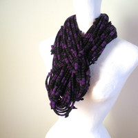 Chunky Purple Striped Circle Scarf Upcycled Clothing Infinity Scarf Black Stripes Eco Friendly Amethyst Cowl Scarf