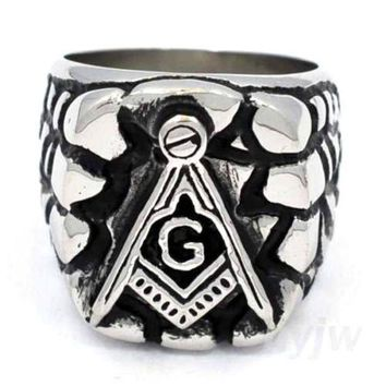 ESBA8C MENS STAINLESS STEEL SILVER TN. FREE MASON MASONIC RING USA SELLER RM101S