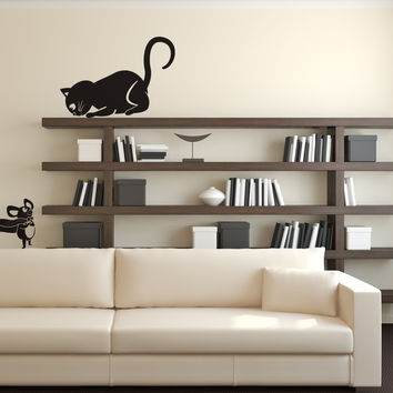 Vinyl Wall Decal Sticker Cat and Mouse #OS_DC340