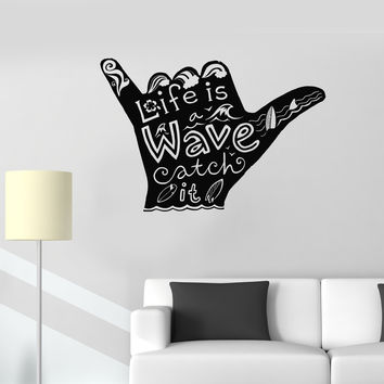 Vinyl Wall Decal Shaka Surfing Surfer Surf Bored Water Sport Stickers Unique Gift (991ig)