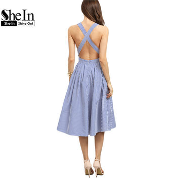 SheIn Women Sexy Midi Dresses  Summer Blue Striped Square Neck Sleeveless Crisscross Back A Line Dress